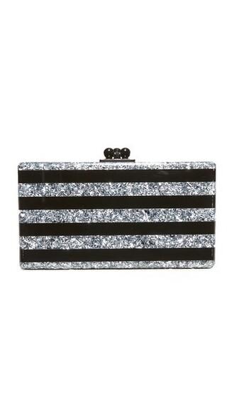 clutch silver black bag