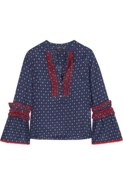 J.Crew blouse embroidered cotton blue silk top