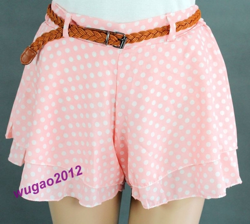 Hot girl ladys retro pleated polka dot chiffon skirt mini dress shorts with belt