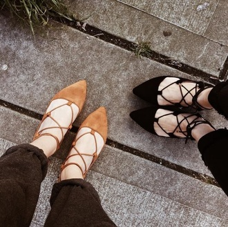 shoes flats flat sandals lace up sandals ballet flats black casual