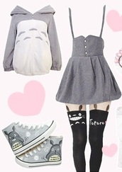 sweater,hoodie,soft,fluffy,cute,kawaii,totoro,my neighbour totoro,totoro shirts,tights,tattoo tights,anime,anime shirt,skirt