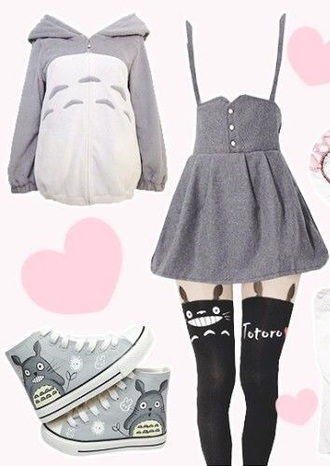 sweater hoodie soft fluffy cute kawaii totoro my neighbour totoro totoro shirts tights tattoo tights anime anime shirt skirt
