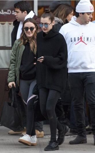 sweater leggings oversized sweater bella hadid model sunglasses