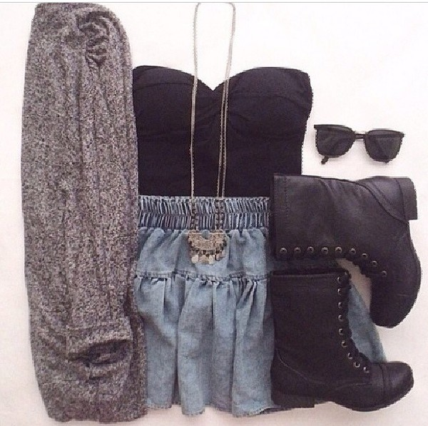 cardigan grey blue jeans skirt sunglasses boots denim skirt combat boots