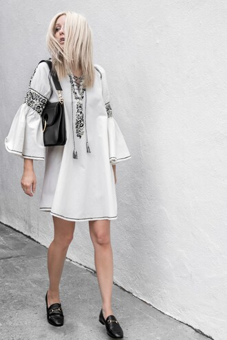 dress bell sleeve dress tumblr embroidered embroidered dress bell sleeves white dress mini dress bag black bag gucci gucci princetown gucci shoes j w anderson