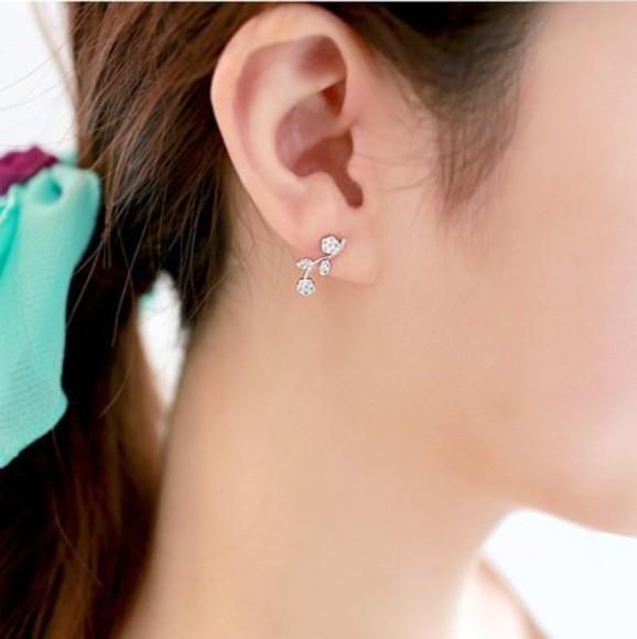 floral jewels leaves earrings
