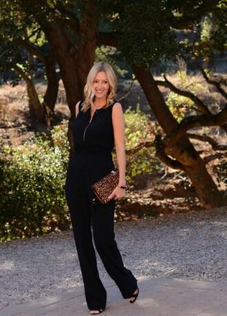 the stylish housewife blogger jumpsuit shoes bag t-shirt jewels clutch black jumpsuit high heel sandals sandals