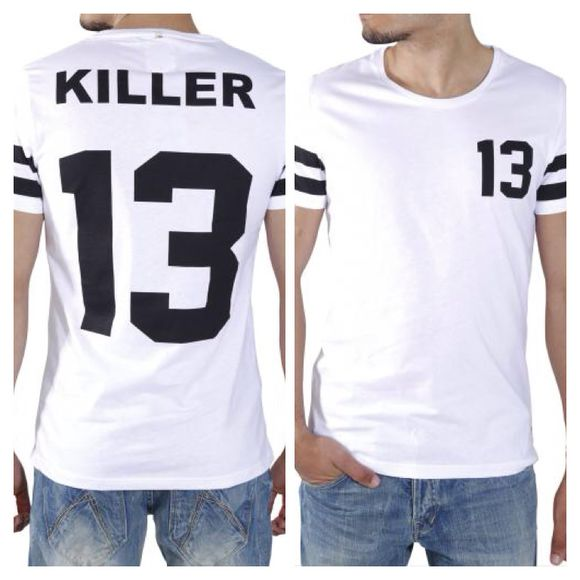 for men black t-shirt white menswear numbers soms stripes black stripes letters/numbers 13 round necklace man t-shirt
