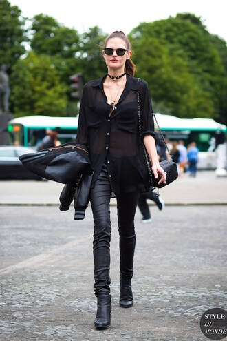 le fashion image blogger jewels shirt bag shoes button up see through long sleeves leather pants shoulder bag black bag choker necklace black shirt black sunglasses baseball jacket black jacket all black everything black leather pants jewelry black choker necklace