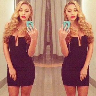 dress party dress little black dress lbd celebrity style tight dress plunging neck line