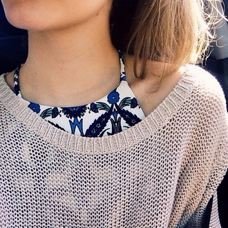 shirt blue and white sweater