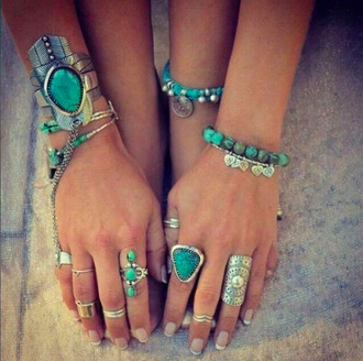 jewels turquoise rings and tings bracelets boho boho chic style tribal indie india westbrooks indie boho arm candy tumbrl girl tumblr tumblr outfit aztec hippie hippie chic feathers hipanema native american turquoise ring knuckle ring gemstone bohemian grunge love is in the air cristals criminal minds gypsy boho choker blue jewels blogger tumbrl outfits blog bloggerstyle ring ring bracelet blue stone ring