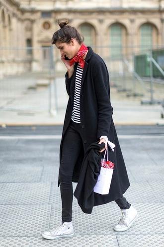 le fashion image blogger coat t-shirt jeans top