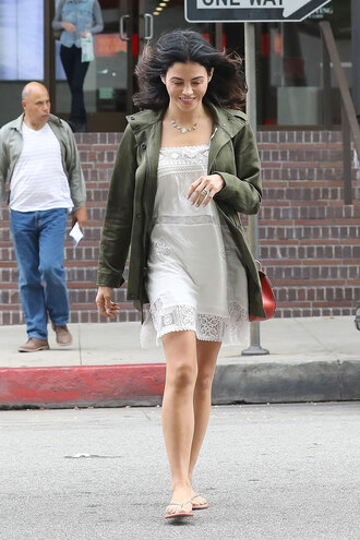 thebudgetbabe blogger dress jacket shoes bag jewels army green jacket white dress flip-flops summer dress