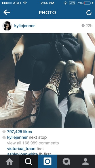 kylie jenner combat boots shoes gloves