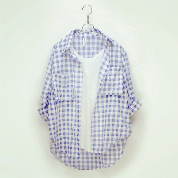 blue and white blouse collard long sleeve checkered skirt button up