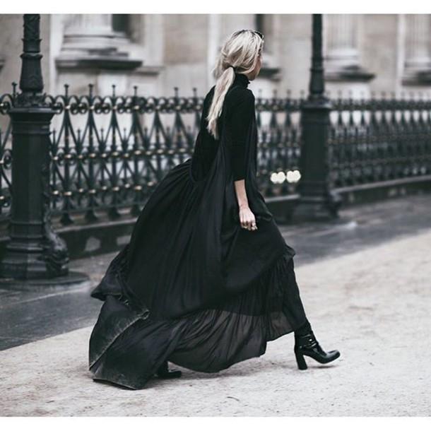 981007e418fc dress tumblr black dress maxi dress top black top turtleneck flowy dress  flowy long sleeves boots