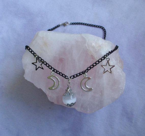 Witchy crystal ball necklace pastel goth grunge by ofstarsandwine
