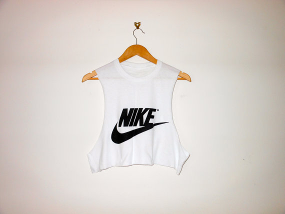 Classic white nike swag style crop top tshirt fresh boss dope celebrity festival clothing