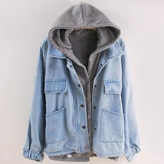 jacket girl girly girly wishlist denim denim jacket blue grey grey hoodie jacket hoodie