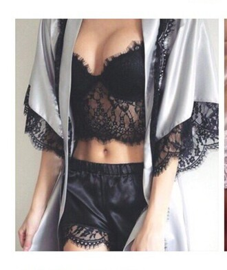 underwear black lace bralette black satin shorts grey stain kimono