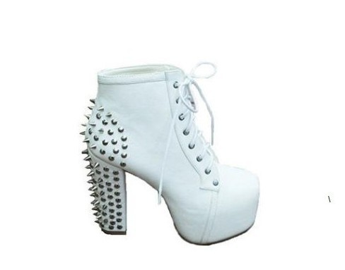 free shipping  hot sell WOMENS SPIKE STUDDED BLOCK LADIES ANKLE BOOTS BOOTIES SHOES Set the rivet women high heels-in Boots from Shoes on Aliexpress.com