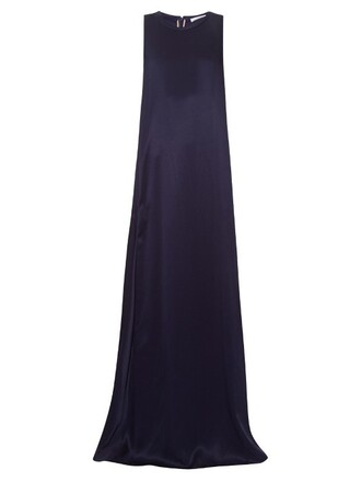 gown sleeveless silk satin navy dress
