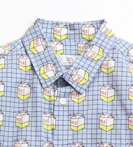 shirt long sleeve milk carton button up light blue asian fashion