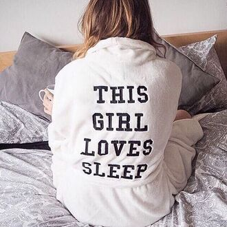 pajamas nightwear funny sleep robe quote on it black and white