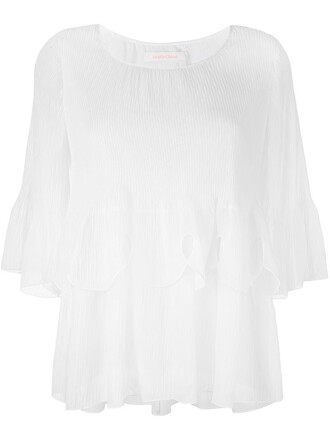 blouse scalloped layered white top