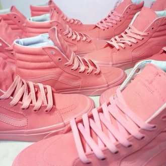 shoes vans high top hi top all pink