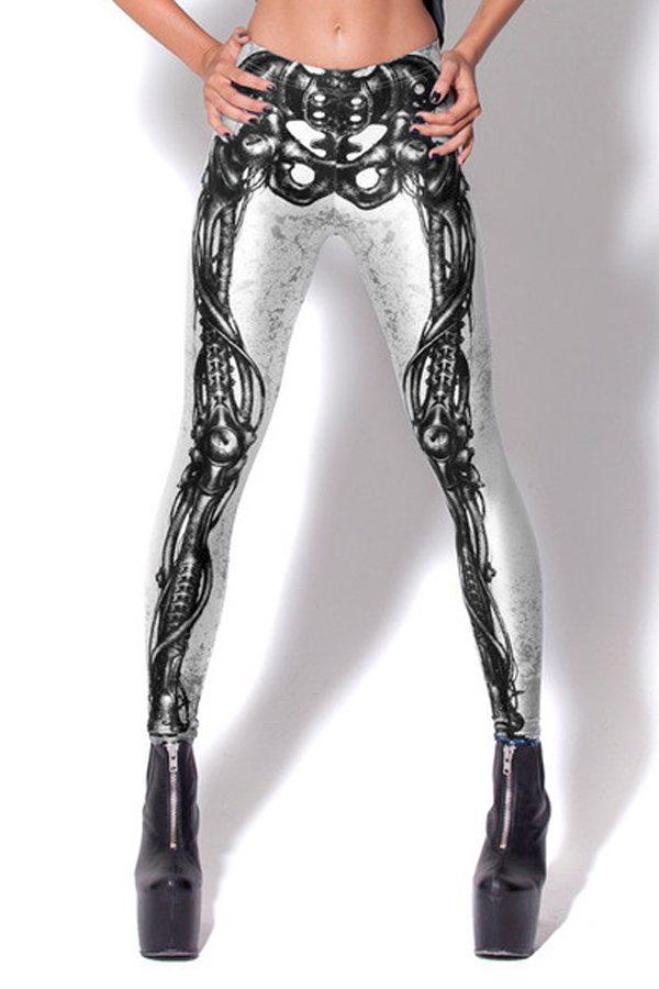White Bold Girl Bones Print Leggings [FBBI00163] - PersunMall.com