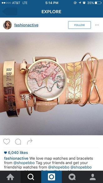 jewels watch map print map watch gold brown leather