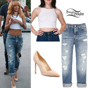 top,crop tops,rihanna,white,white crop tops,shirt,jeans,shoes