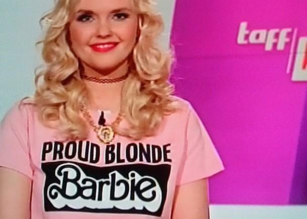 pink barbie girly blonde hair blogger t-shirt shirt
