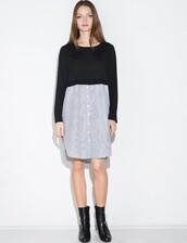 dress,knit stripe shirt combo dress,knit stripe dress,knitted dress,shirt dress,cute dress,casual dress,casual,holiday season