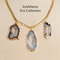 Chunky glamorous statement gold plated necklace with 3 huge natural druzy agate slice pendants, gray white sparkly druzy stones, handmade