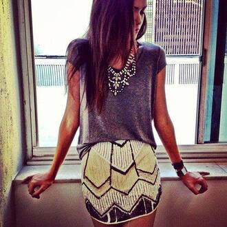skirt sequins top nackle clothes trendy plaid skirt mini skirt gold sequins grey top t shit fashion