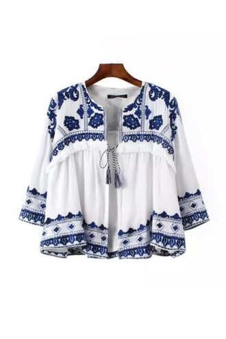 jacket porcelain goodnight macaroon print white blue zara sheinside