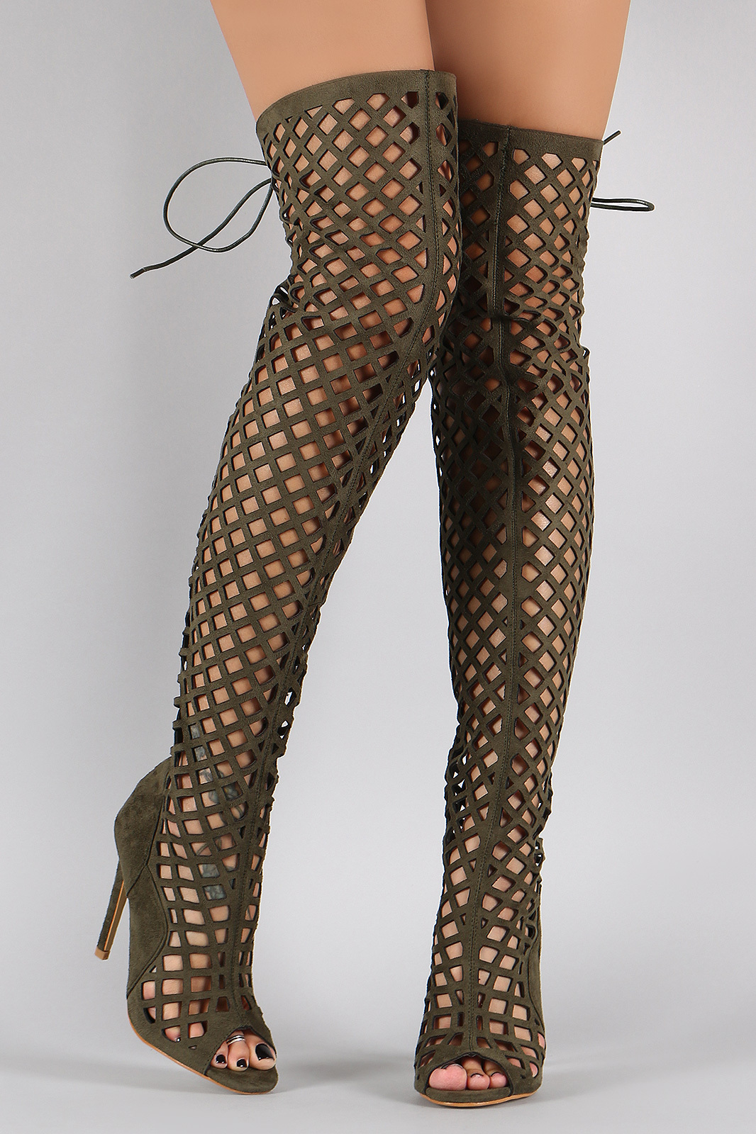 Green Olive Elnora Thigh High Peep Toe Cut Out Over Knee High Heel ...