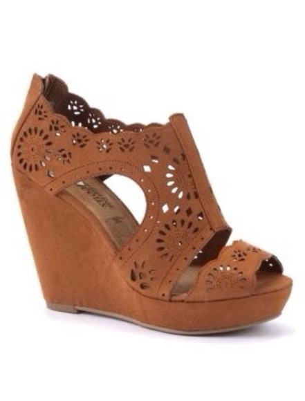 shoes wedges brown wedges cut out