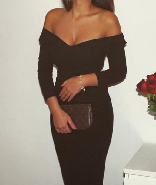 dress maxi dress black dress classy style off the shoulder dress red carpet dress fashion
