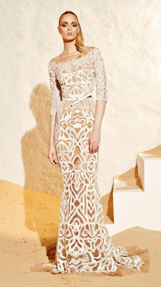 pattern zuhair murad white dress creme