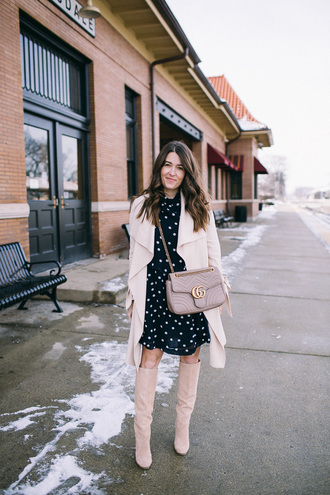 sequins and stripes blogger dress coat shoes bag gucci bag boots polka dots winter outfits