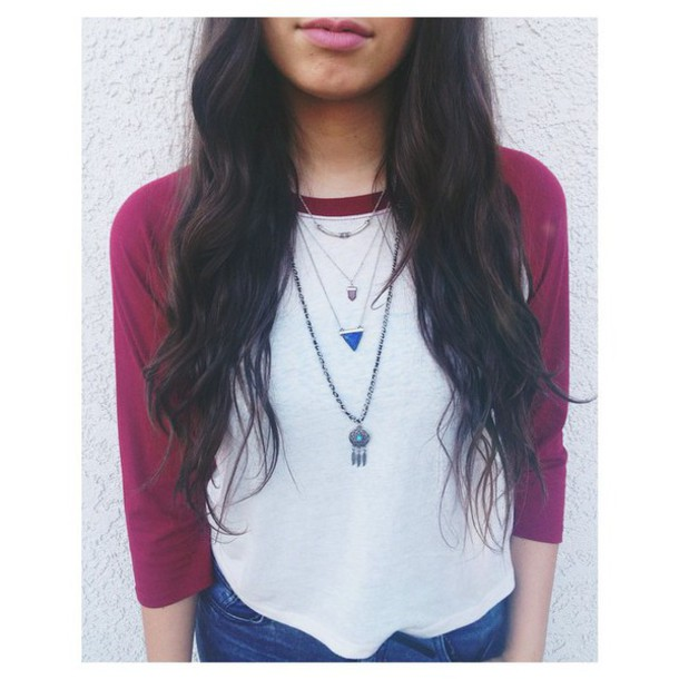 shirt baseball tee white maroon sleeves