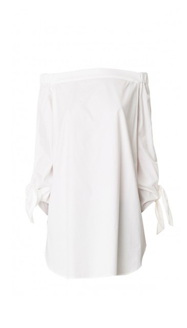 7a24183e639 Tibi Satin Poplin Off-the-Shoulder Tunic