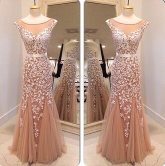 dress long prom dress white appliqued mermaid dresses scalloped neckline evening dresses open back evening dresses 2015 women summer wedding dresses women fashion clothing nail polish white prom formal fashion trendy nude tulle dress gorgeous dressofgirl 2016 prom dress tulle prom dress prom dress with appliques elegant prom dress