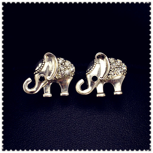 New fashion jewelry tibetan silver plated Elephants stud gift for women girl E2220-in Stud Earrings from Jewelry on Aliexpress.com