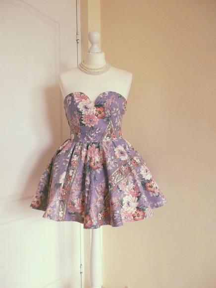 purple dress chic flower dress sweetheart dresses floral prom dress cute dress bralette corset top
