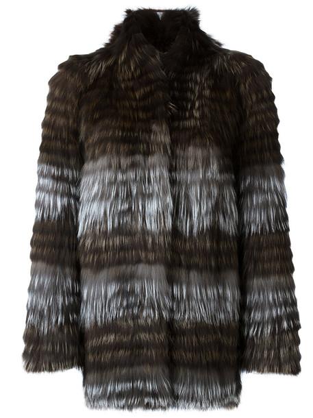 Yves Salomon coat fur fox women spandex cotton brown
